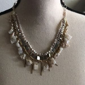 Statement Necklace Druzy-like stone & Mixed Metals